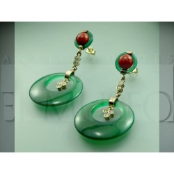 Art Deco style earrings of agate and coral