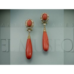 Spectacular coral and diamond earrings