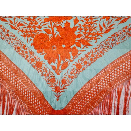 Turquoise shawl embroidered in orange